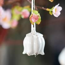 Decorative bells in flower shape White, Gold 4pcs