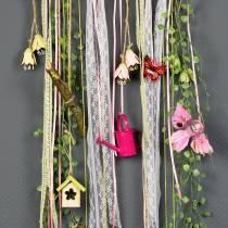 Deco birds on the clip pink / purple 9cm 8pcs