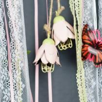Decoration to hang metal flower 13cm 3pcs