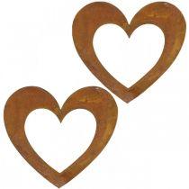 Heart rust decoration heart garden metal 15cm 6pcs