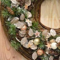 Decorative wreath silver leaf artificial wreath of leaves champagne Ø59cm