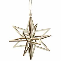3D star for hanging Wood 13.5cm 6pcs
