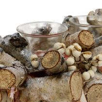Candle arrangement with birch branches nature, mica 48cm