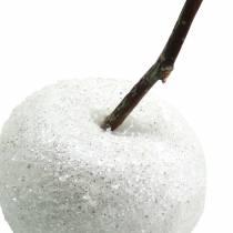Decorative apples white with glitter 5.5–6.5cm 12pcs