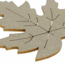 Scattered maple leaves yellow, brown, platinum Assorted 4cm 72pcs