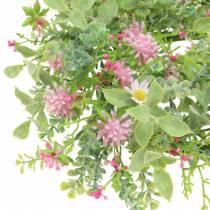 Meadow flower wreath with clover Flocked Pink, Green Ø30cm