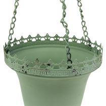 Metal hanging basket green Ø21cm H30cm