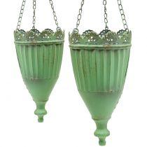 Flower basket antique green Ø19 / 15cm 2pcs