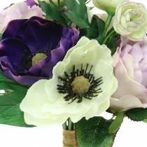 Bouquet with anemones and roses Violet, Cream 30cm