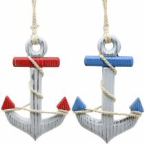 Decorative Anchor Wood Red / Blue, White Assorted 15×23.5cm Set of 2