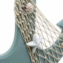 Anchor Wood with sea shells Light blue 28.5×40cm