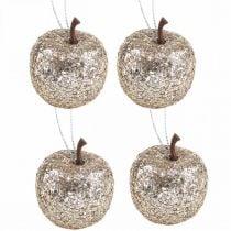 Deco mini apple glitter champagne tree decorations Ø3.5cm 24pcs