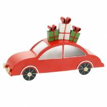 Christmas car with LED red metal 25cm H14.5cm for battery.