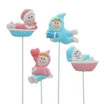 Baby deco plug pink, blue 5cm L25cm 4pcs