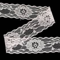 Lace ribbon floral with wavy edge pink 40mm 20m