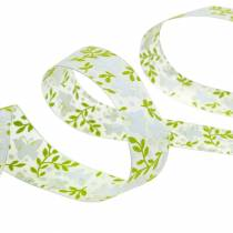 Decorative ribbon with butterflies 25mm green organza ribbon gift ribbon 20m