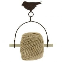 Band holder bird for hanging with jute H19cm