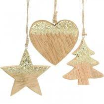 Christmas decoration star / heart / tree, wooden pendant, advent decoration H10 / 12.5cm 3pcs