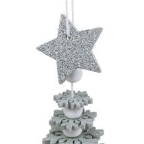 Hanging Decoration Christmas Tree with bell Silver 29cm