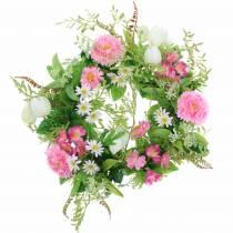 Bellis wreath / checkerboard flower pink, white Ø30cm