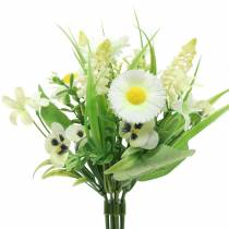 Spring bouquet with daisies and hyacinth White, Yellow 25cm
