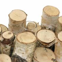 Birch jar with test tubes natural 32cm