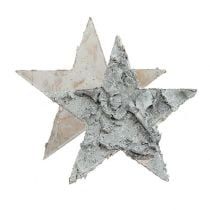 Decoration to control birch star whitened Ø4cm 80pcs