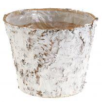 Decorative pot birch whitened Ø18cm H15cm