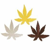 Scatter decoration leaves yellow, brown, platinum assorted 4cm 72pcs