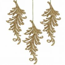 Tree pendant with glitter, decorative feathers to hang, Christmas decoration Golden L16cm 6pcs
