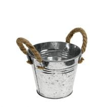 Tin bucket with rope handles shiny Ø12cm