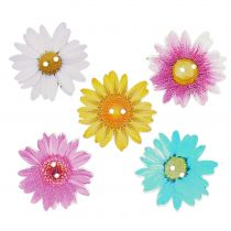 Flowers as buttons made of wood Ø3,5cm assorted 90pcs