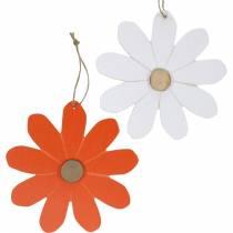 Flower pendants, decorative flowers orange and white, wooden decoration, summer, decorative flowers 8pcs