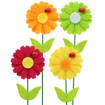 Deco sticker flower with ladybird H24cm 12pcs