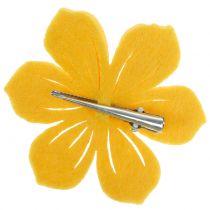 Felt flower on the clip 7cm 24pcs