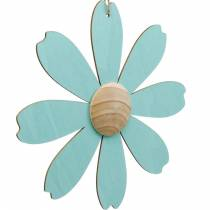 Wooden flowers to hang, spring decoration, wooden flower pink and blue, summer, decorative flowers 4pcs