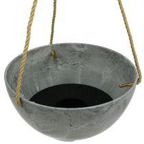 "Flower hanging basket ""Fiona"" Ø25cm H12cm gray"