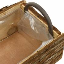 Flower box, wooden box with bark, plant pot with handles 38cm
