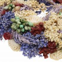 Decorative wreath of dry grass and artificial flowers lilac Ø20cm