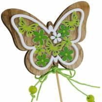 Flower plug butterfly wood spring decoration on rod 12pcs