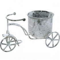 Flower pot bicycle metal vintage white washed 24 × 13 × 14cm