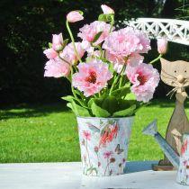 Flower pot metal flowers spring decoration planter Ø15cm H15.5cm
