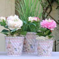 Flower pot metal roses summer decoration planter Ø15cm H15.5cm