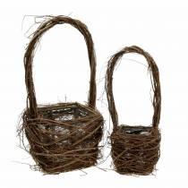 Decorative wicker basket with handle Easter basket brown H36.5cm H45cm set of 2