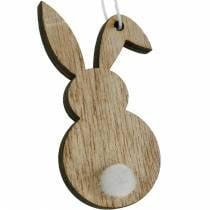 Colorful Easter bunny hanger wood Easter decoration 12pcs