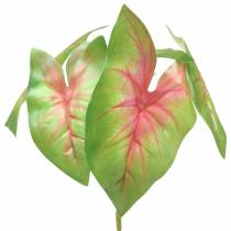 Artificial caladium six-leaved green / pink