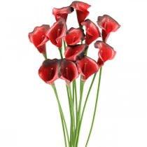 Calla red bordeaux artificial flowers in a bunch 57cm 12pcs