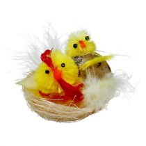 Chenille chicks in nest yellow 5cm 4pcs