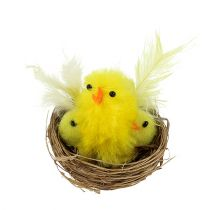 Chenille chicks in the nest Ø5cm yellow 4pcs