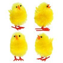 Chenille chick 4cm yellow 4pcs